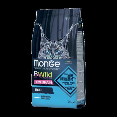 Monge Cat BWild Low Grain Сухой корм для взрослых кошек из анчоуса, низкозерновой