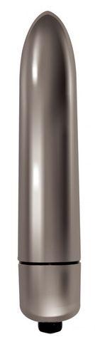 Серебристая вибропуля Mae - 9 см.