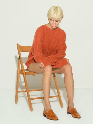 Женский джемпер терракотового цвета из мохера и шерсти - фото 3
