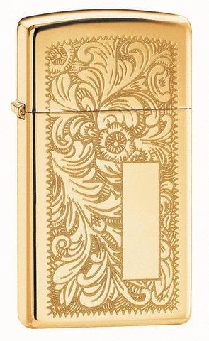 Зажигалка Zippo Slim Venetian Brass, с покрытием High Polish Brass, латунь/сталь, золотистая