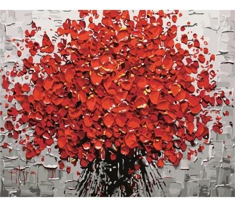 Алмазная Мозаика 30x40 Букет красных цветов большими мазками