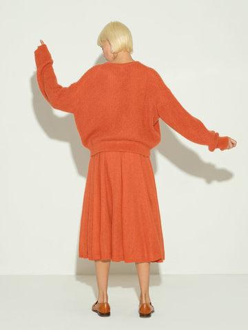 Женский джемпер терракотового цвета из мохера и шерсти - фото 5