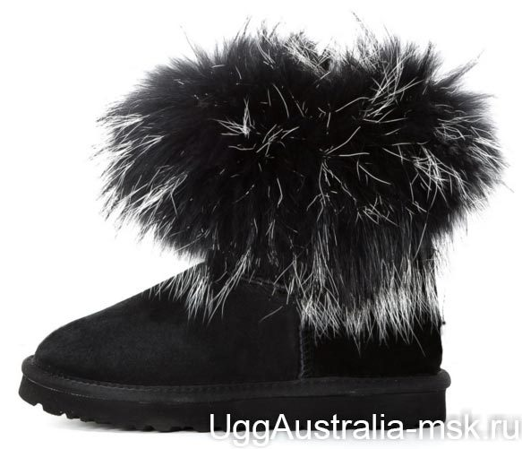 Ugg Fox Fur Mini Black & White