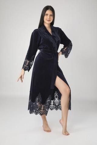 Халат женский велюровый с кружевом Kleopatra 0383 синий NUSA Турция