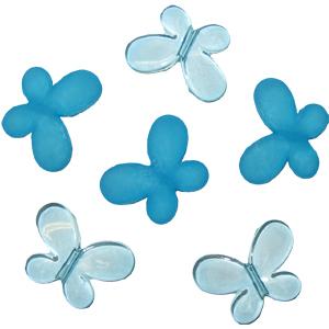 Декоративные бусины Мотылек голубые ассорти 3х2,2см 10шт