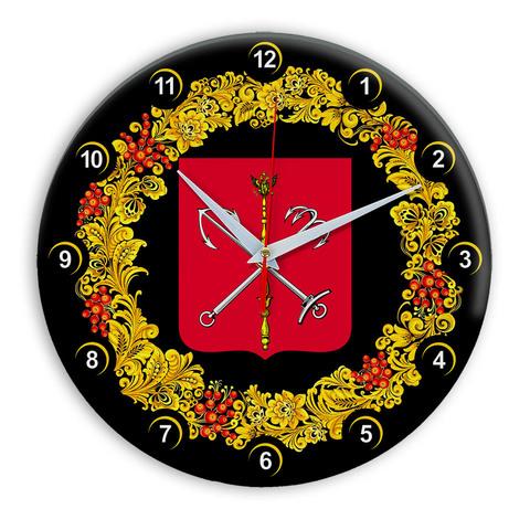 Часы в стиле Хохлома сувенирные Санкт Петербург 03