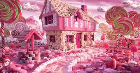 Алмазная Мозаика 30x40 Сахарный розовый городок