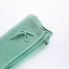 Плед вязаный зеленый хлопковый