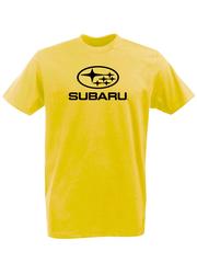 Футболка с принтом Субару (Subaru) желтая 001