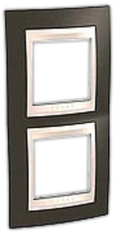 Рамка на 2 поста. Цвет вертикальная Какао/Белый. Schneider electric Unica Хамелеон. MGU6.004V.871