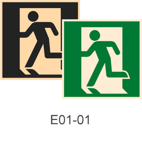 фотолюминесцентные знаки безопасности Е01-01 Выход здесь (левосторонний)