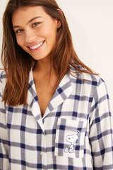 Коротка нічна сорочка «Снупі» в клітку