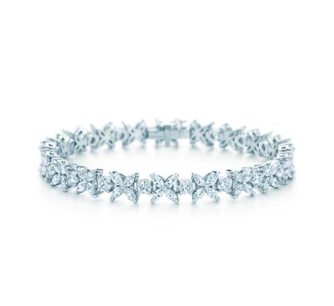 12118- Браслет Victoria с чередованием элементов из серебра с цирконами огранки маркиз