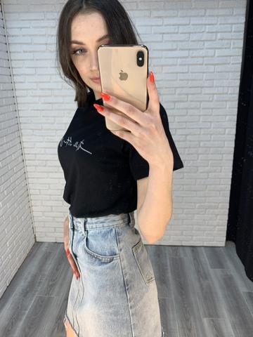 черная футболка женская оверсайз недорого