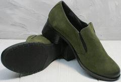 Стильные туфли женские на каблуке осень Miss Rozella 503-08 Khaki.