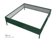 Клумба квадратная оцинкованная 1 ярус RAL 6005 Зеленый мох