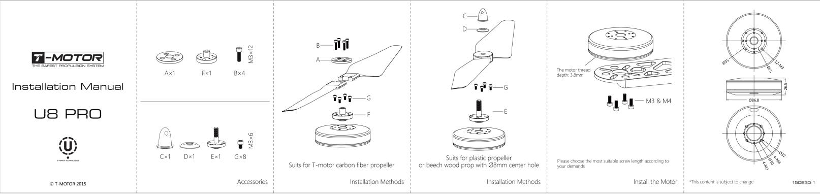 Инструкция по креплению мотора T-Motor U8 Pro KV170