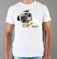 Футболка с принтом собаки (Собачки, Мопс) белая 0046