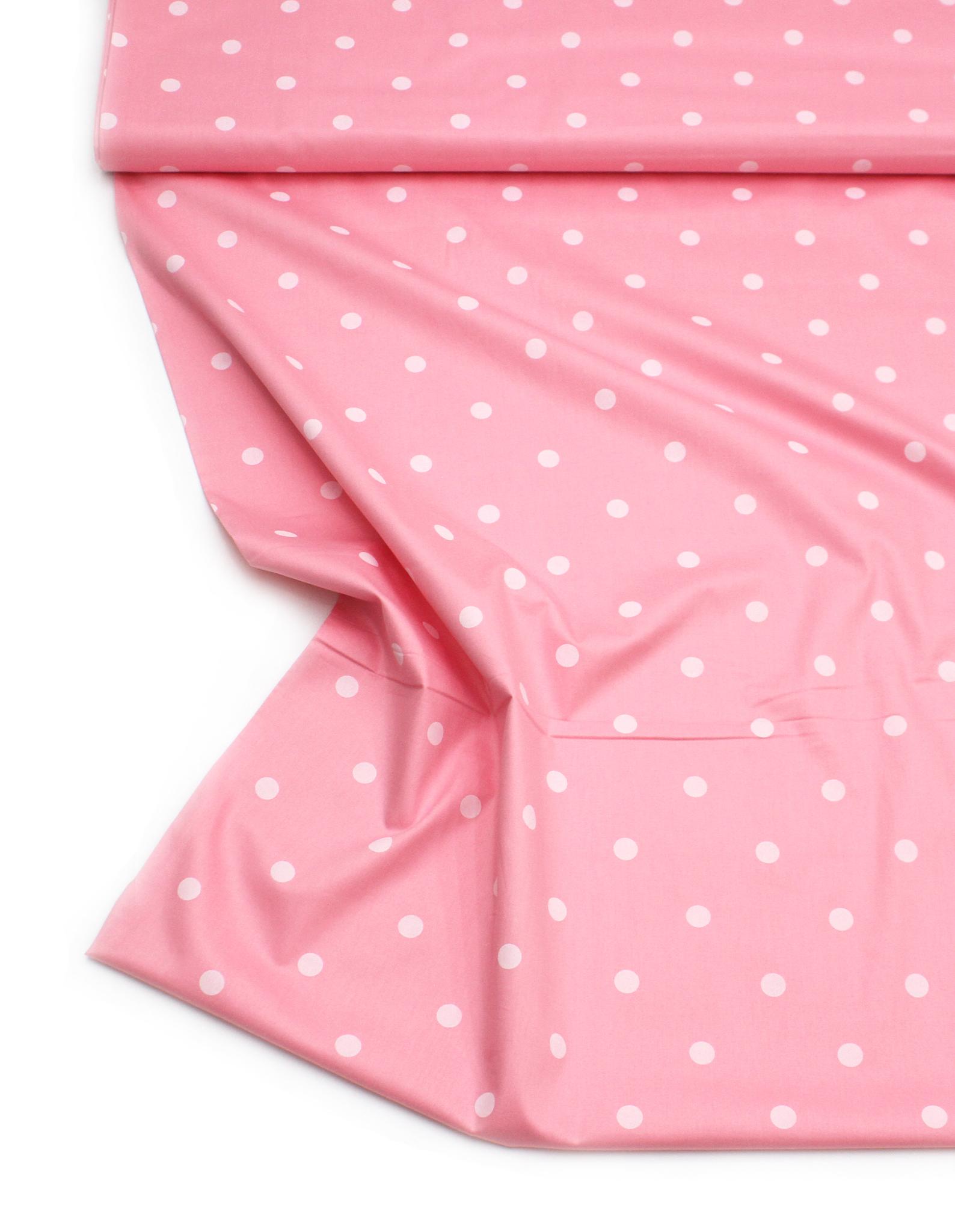 Горошек крупный белый на розовом фоне