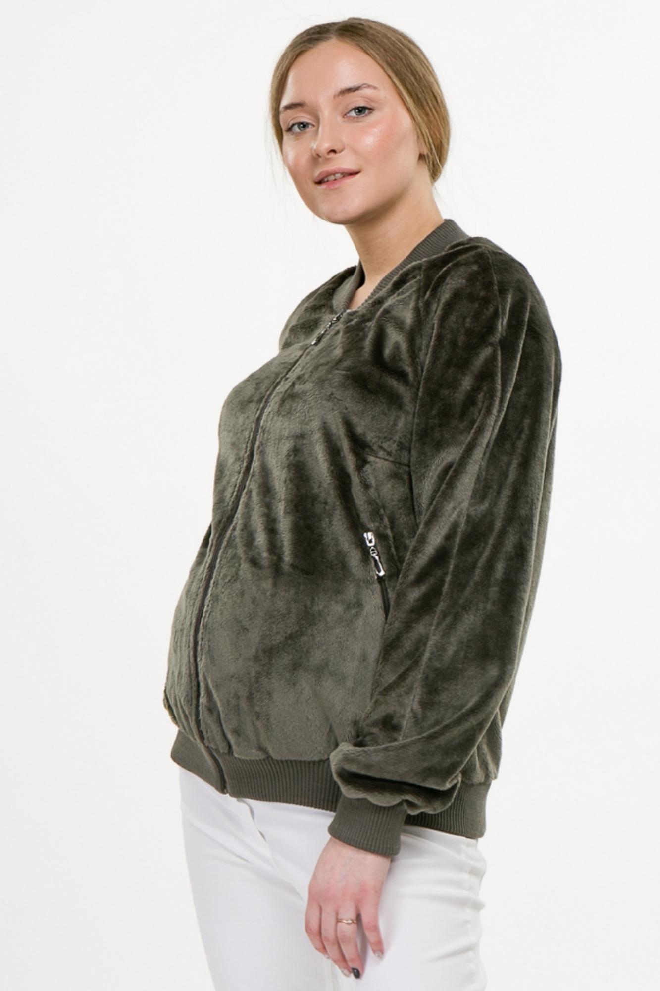 Бомбер для беременных 09784 оливковый