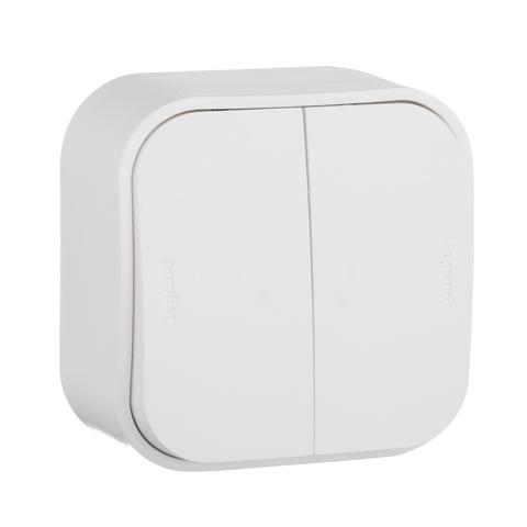 Выключатель двухклавишный проходной - 10 AX - 250 В~. Цвет Белый. Legrand Quteo (Легранд Кутео). 782206