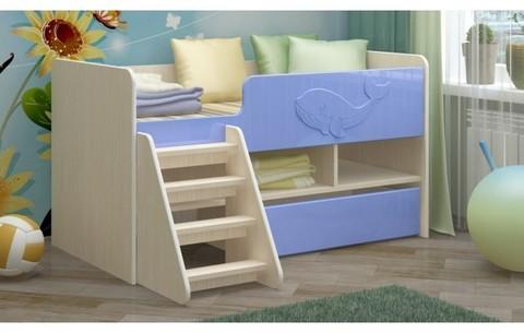 Детская кровать Юниор-3 МДФ голубой, 70х140