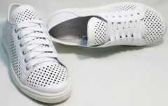 Летние спортивные туфли кеды кожаные белые женские ZiKo KPP2 Wite.