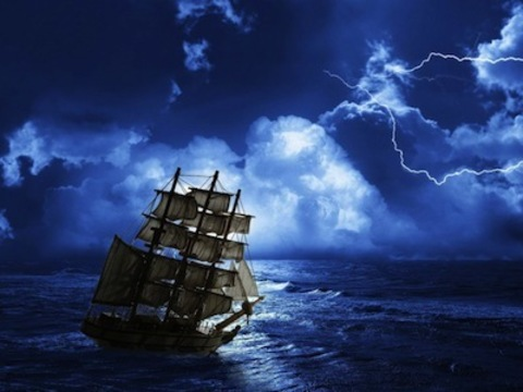 Картина раскраска по номерам 30x40 Корабль мчит по волнам в темноте