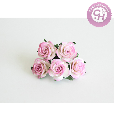 Роза из бумаги премиум, на проволоке, 2,5 см, 5 шт.