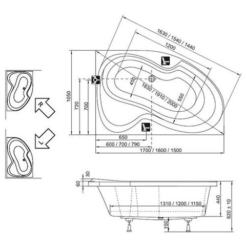 Ванна акриловая Ravak Rosa II 170x105 P C421000000 схема