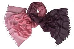 Кашемировый палантин двухцветный розово-фиолетовый