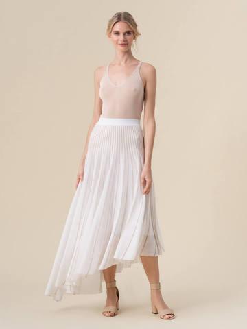 Женская юбка асимметричного кроя молочного цвета из вискозы - фото 2