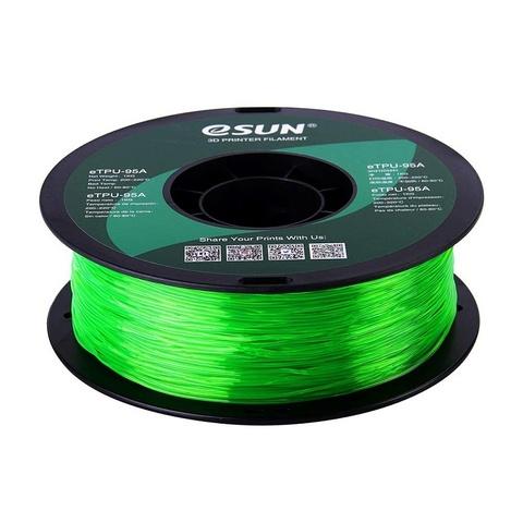 ESUN eTPU95A, 1.75 мм, 1 кг, прозрачно-зеленый
