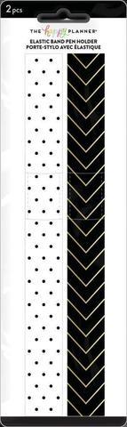 Держатель ручки на резинке для планера. Black & White Elastic Band Pen Holder  -2 шт