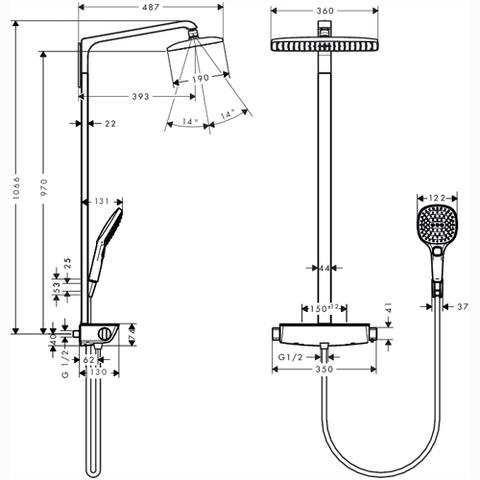 Душевая система Hansgrohe Raindance Select 360 Showerpipe   27112000 схема
