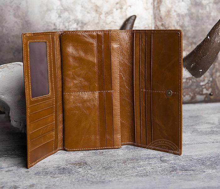 WL294-2 Компактный мужской клатч из кожи коричневого цвета фото 06