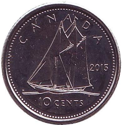 10 центов 2015 год. Парусник. UNC