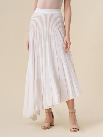 Женская юбка асимметричного кроя молочного цвета из вискозы - фото 4