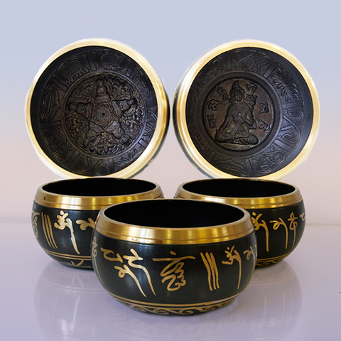 Чаша поющая с барельефом, 7 металлов металлов для лечения и медитации, d-13 см