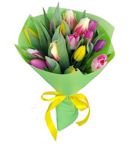 Букет из 17 микс тюльпанов 4