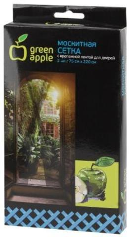 GBN003  GREEN APPLE Москитная сетка на дверь 2штx75смx220см, 2 шторы + крепежная лента