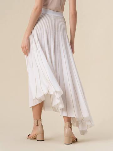 Женская юбка асимметричного кроя молочного цвета из вискозы - фото 3