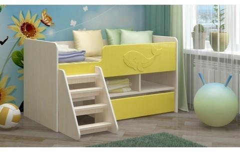 Детская кровать Юниор-3 МДФ золотой, 70х140, склад