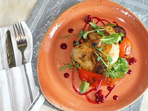 Цыпленок с овощами гриль и соусом из брусники
