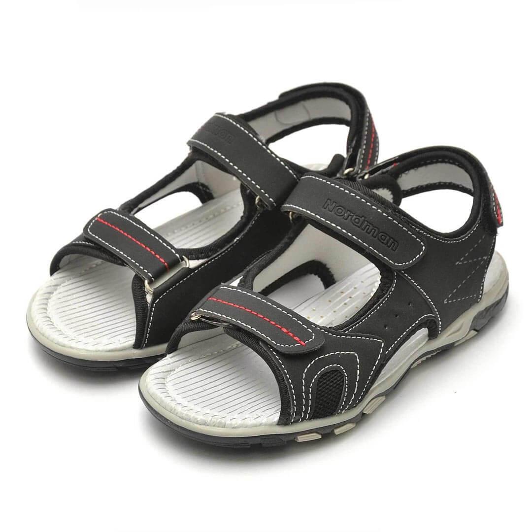 Кожаные анатомические сандалики Nordman Boom черные