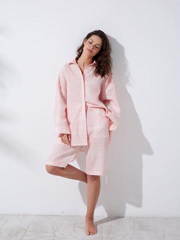 Рубашка изо льна Леопард розовый