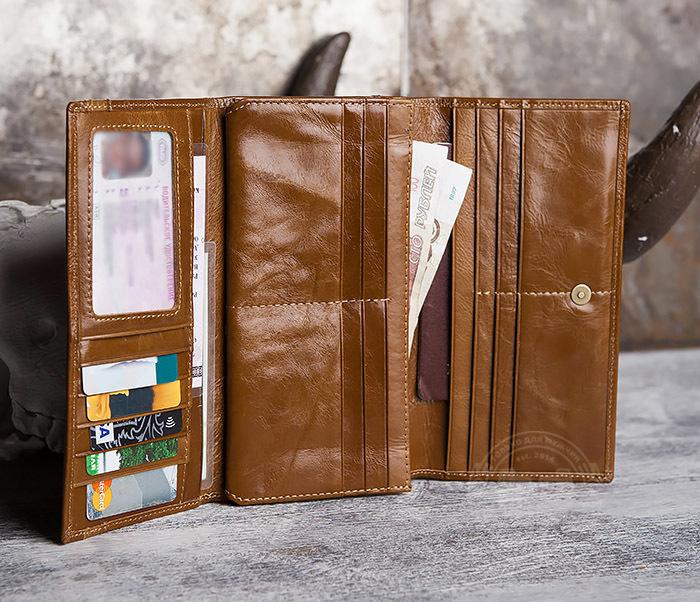 WL294-2 Компактный мужской клатч из кожи коричневого цвета фото 08