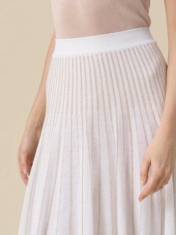 Женская юбка асимметричного кроя молочного цвета из вискозы - фото 5