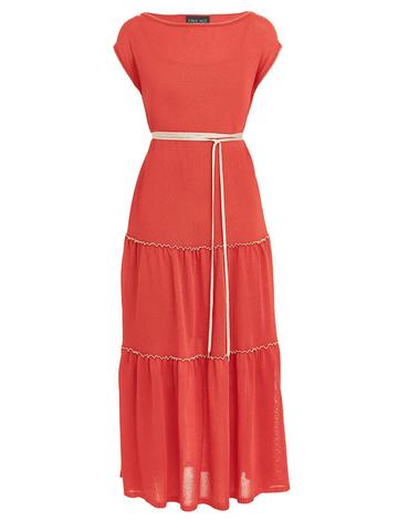 Женское платье кораллового цвета из вискозы - фото 1