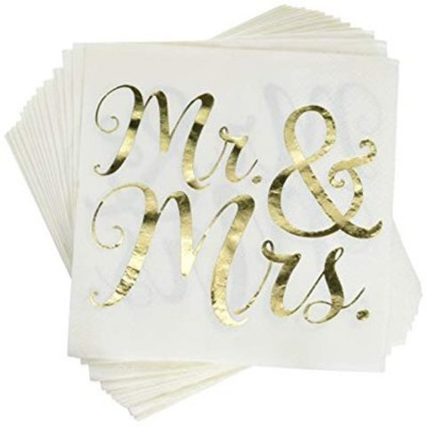Салфетки Mr&Mrs блеск, 16 штук